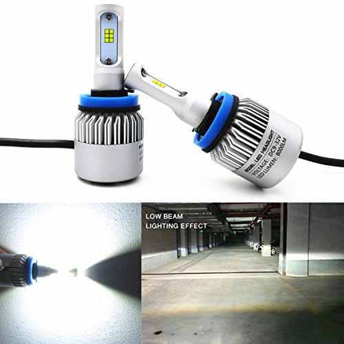 Alla Lighting Extremely Super Bright High Power CSP Chipset H11 H8 H9 H11LL H8LL LED Headlight Bulbs w/8000Lm 6500K Xenon White for Replacing Halogen Headlamp All-in-One Conversion Kits (White Halogen Headlamp Bulb)