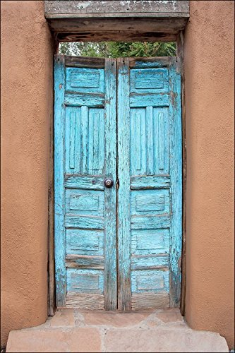 American Frame Picture West (Photograph of colorful blue American Southwest architectural wood door. Large wall art décor door photography to decorate your living room, bedroom, kitchen, dining room, hallway or office.)