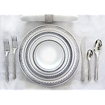 Royalty Settings Festive Collection Hard Plastic Plates for Weddings for 120 Persons Includes 120 Dinner Plates 120 Salad Plates 240 Forks 120 Spoons ...  sc 1 st  Amazon.com & Amazon.com: Royalty Settings Ornament Collection Hard Plastic Plates ...