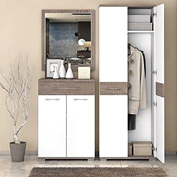 Garderobe Komplett Set B Sagone 3 Teilig Farbe Eiche