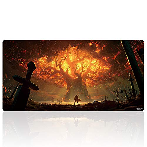 Extended Gaming Mouse Pad Custom Design Computer Gaming Mouse Mat with Smooth Surface XXL Large Size Desk Pad with Non-Slip Rubber Base Ideal for Keyboard, PC and Laptop (90x40 World treeY19)