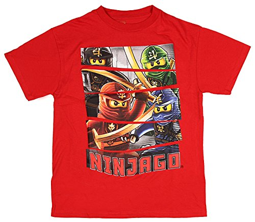 LEGO Ninjago Character Panel Boys Costume T-Shirt (Red Panel XL (Lego Ninjago Jay Costume)