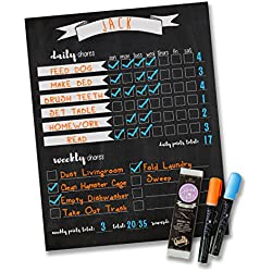 "Jennakate- Magnetic Chalkboard Design- Child Behavior Reward Chore Chart-Daily Household Chore Checklist-Job Chart- Dry Erase- 11""x14"" FREE Dry Erase Markers"