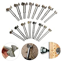 8milelake 16Pcs Forstner Drill Bits Set Individual Titanium Coated Alloy Steel Wood Boring Hole Saw Set Woodworking Forstner Drill Bits Cutter 15mm-35mm