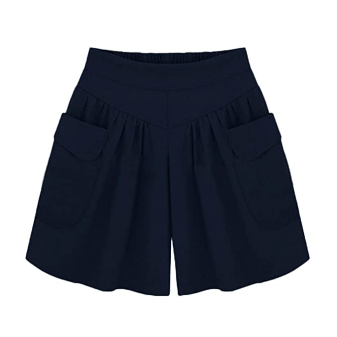 PAOLIAN Pantalones Cortos para Mujer Verano 2018 Casual Pantalones de Vestir  Tallas Grandes Fiesta Cintura Alta Elástico Suelto Pantalones Baggy Cortos  ... 82e1d75c39a6