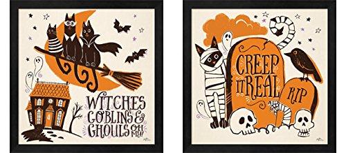 Spooktacular C by Janelle Penner, 2 Piece Black Framed Art Set, 13 X 13 Inches Each, Halloween Art ()