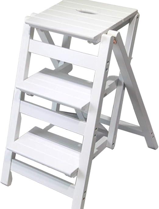 Escalera Plegable - Taburete pequeño Escalera pequeña de Madera 3 ...