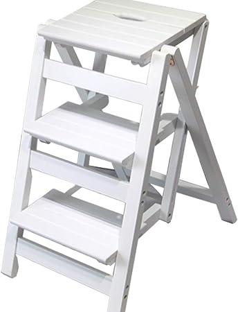Escalera Plegable - Taburete pequeño Escalera pequeña de Madera 3 Piso Taburete Plegable - Taburete Plegable Escalera portátil Taburete - para la Cocina de la Biblioteca del jardín.: Amazon.es: Hogar