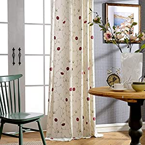 VOGOL European Simple Floral Embroidered Curtains Red Elegant Faux Linen Curtain for Living Room 52×96 Inch, 2 Panels, Top Grommet
