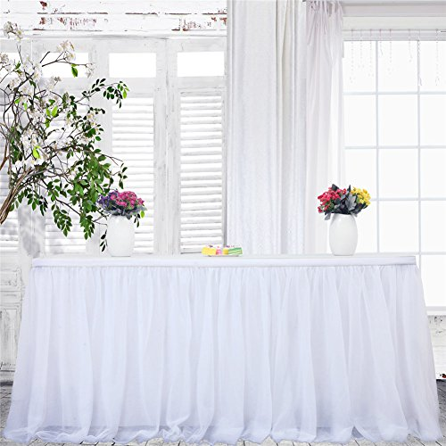 Haperlare 14ft Tablecloth White Tulle Table Skirt Queen Snowflake Wonderland Tulle White Tablecloth Tutu Tablecloth Skirting for Wedding Party Baby Shower Christmas Birthday Banquet Table -