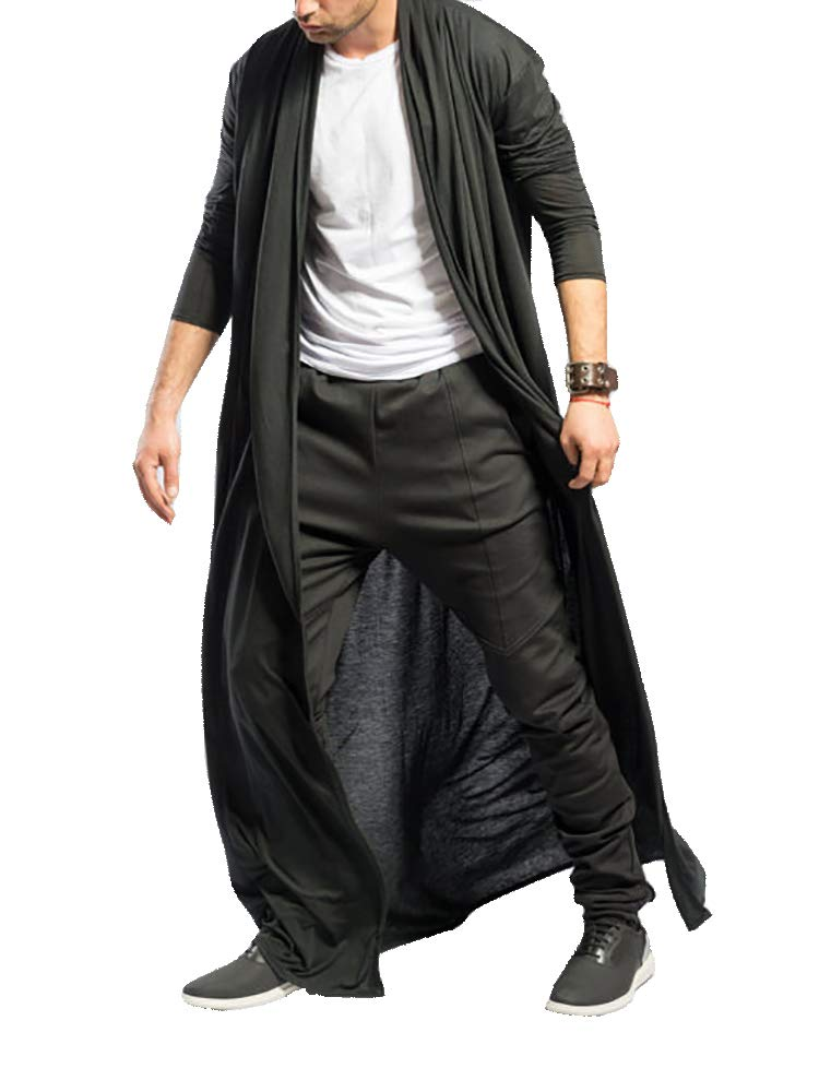 Men's Ruffle Shawl Collar Cardigan Jackets Open Front Outerwear Cotton Long Drape Cape Poncho Trench Coat Black by PASLTER