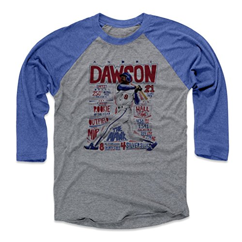 500 LEVEL Andre Dawson Baseball Tee Shirt XX-Large Royal/Heather Gray - Vintage Chicago Baseball Raglan Shirt - Andre Dawson Stats B