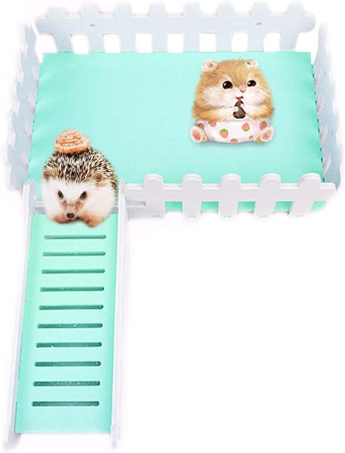MUMAX - Hábitat de animales pequeños, ratón hámster con plataforma de observación con divertida escalera de escalada, juguetes de lujo para nido ratón, micrófono, erizo, lagarto, etc. (azul)