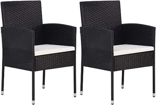 Tidyard Jardin Sillas de caña 2 Negro Acero Compuesto sillas de Jardin: Amazon.es: Hogar