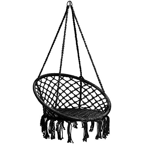 CCTRO Hammock Chair Macrame Swing,Boho Style Rattan Chair Hanging Macrame Hammock Swing Chairs for Indoor/Outdoor Home Patio Porch Yard Garden Deck,265 Pound Capacity (C Black)