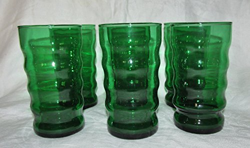 Set of 6 078743122229Anchor Hocking Forest Green Ribbed Beverage Glasses Set of (Anchor Hocking Forest Green)