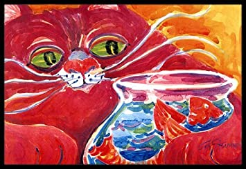 Caroline tesoros del Gran Gato Rojo en la pecera interior o al aire libre Felpudo, 24 x 36, multicolor por Caroline tesoros: Amazon.es: Hogar