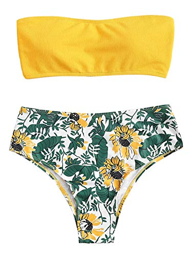 SweatyRocks Women's Sexy Bikini Swimsuit High Waist Floral Print Wrap Padding Ribbed Bathing Suits Yellow M (High Bikini Waist Wrap)