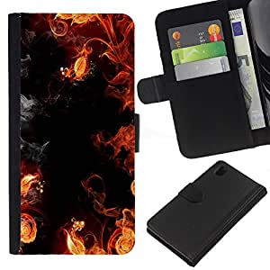 All Phone Most Case / Oferta Especial Cáscara Funda de cuero Monedero Cubierta de proteccion Caso / Wallet Case for Sony Xperia Z1 L39 // Flames Black Red Yellow Hell Smoke Fire