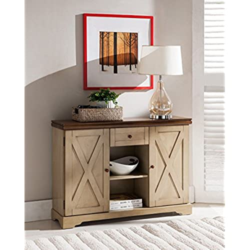 Kings Brand Furniture Wood Buffet Cabinet Console Table, Antique  White/Walnut