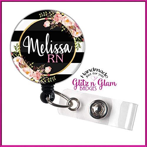 Retractable Badge Holder Reel, Personalized Name Badge Reel, Nurse Badge Holder, Retractable ID Reel, Flower Nurse Badge Reel - GG4514