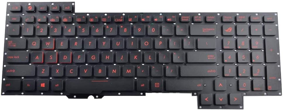 Replacement Laptop Keyboard Without Frame with Red Letter for ASUS G751J G751JL G751JM G751JT G751JY Series Black US Layout Compatible Part Number 0KNB0-E601US00 ASM14C33USJ442