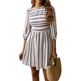 Women Summer Casual Striped Half Sleeve A Line Short Dress