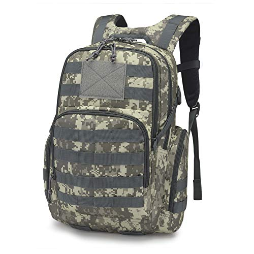 (Mardingtop 25L Tactical Backpacks Molle Hiking daypacks for Camping Hiking Military Traveling (25L-Camo Grid, 25L))