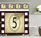 Ambesonne Movie Theater Shower Curtain, Scratched Film Strips Vintage Movie Frame Pattern Grunge Illustration, Cloth Fabric Bathroom Decor Set with Hooks, 75 Inches Long, Beige Brown White
