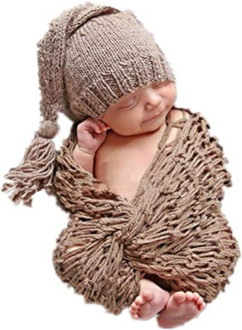 Infant Baby Girl Boy Crochet Knit Hat+Rabbit Toys Photo Photography Prop Outfits