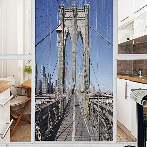 Decorative Window Film,No Glue Frosted Privacy Film,Stained Glass Door Film,Gothic Brooklyn Bridge New York City Famous Urban American USA Scenery,for Home & Office,23.6In. by 78.7In Light Blue Grey