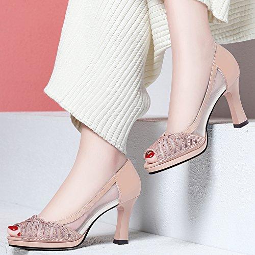 l' nbsp;cm Golden da con pesce primavera alti sandali 8 e Diamond KPHY Hollow bocca maglia match e scarpe grossolana tacchi estate all 17wE8ATq