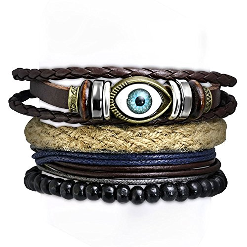 Young & Forever Men's Men-Tastic Multilayer Set Of 4 Leather Beads Evil Eye Gift Bracelets by Young & Forever