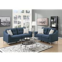 Benzara BM168716 Polyfiber Sofa with Loveseat and Cushions, Blue/Black