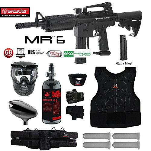 Spyder MR6 w/ DLS & Spare FS 9 Round Magazine Starter Protective HPA Paintball Gun Package - Black
