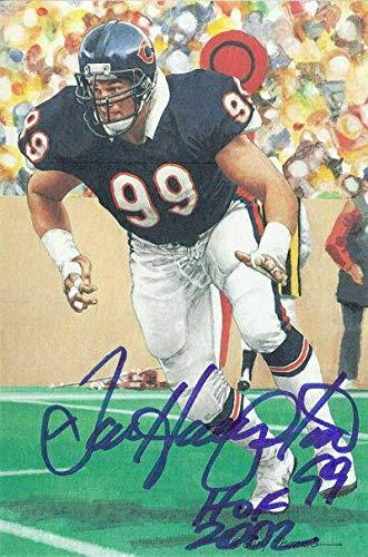 Dan Hampton Autographed Chicago Bears Goal Line Art Card Blue HOF 11547 - Original NFL Art and Prints