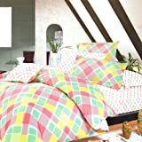 Blancho Bedding - [Crystal Pink Plaid] 100% Cotton 3PC Comforter Cover/Duvet Cover Combo (Twin size)