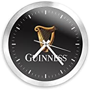 Trademark Gameroom Guinness 12 Inch Brushed Aluminum Wall Clock - Harp