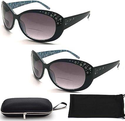 Amazon Com Women Fashion Designer Oversized Lenses Bifocal Sun Readers Sunglasses Reading Glasses With Rhinestone 2 Pairs 2 00 Health Personal Care