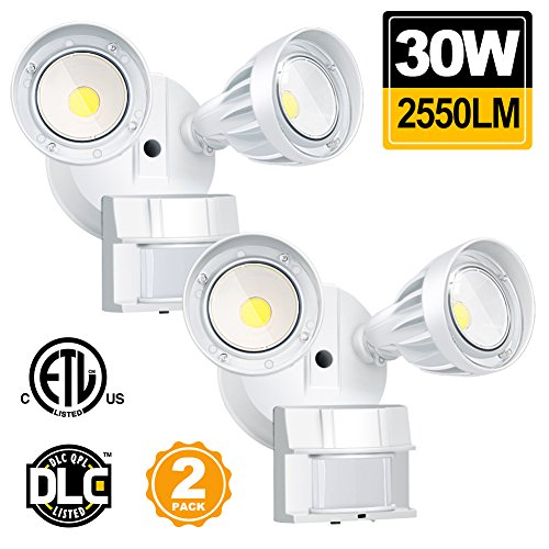 30W LED Security Lights Motion Outdoor 2550 Lumen 5000K BBOUNDER Motion Sensor Outdoor Lights Waterproof IP65 ETL Certificated 2-Head Adjustable Flood Light for Entryways Stairs Yard and Garage 2 Pack