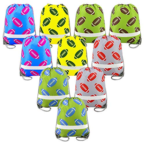 Football Party Supplies Favors Bags 10 Pack, Reflective Sports NFL Drawstring Backpack Bags Bulk ()