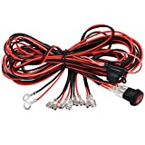 4 Lead LED Spot Light Bar Wiring Harness Kit with ON/OFF Switch and Fuse for LED Docking Driving Fog Lights Off Road Daytime Running HID Work Lamp TAITIAN