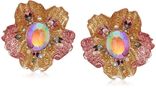 (Betsey Johnson (Gbg) Gold Butterfly Button Stud Earrings, Pink, One Size)
