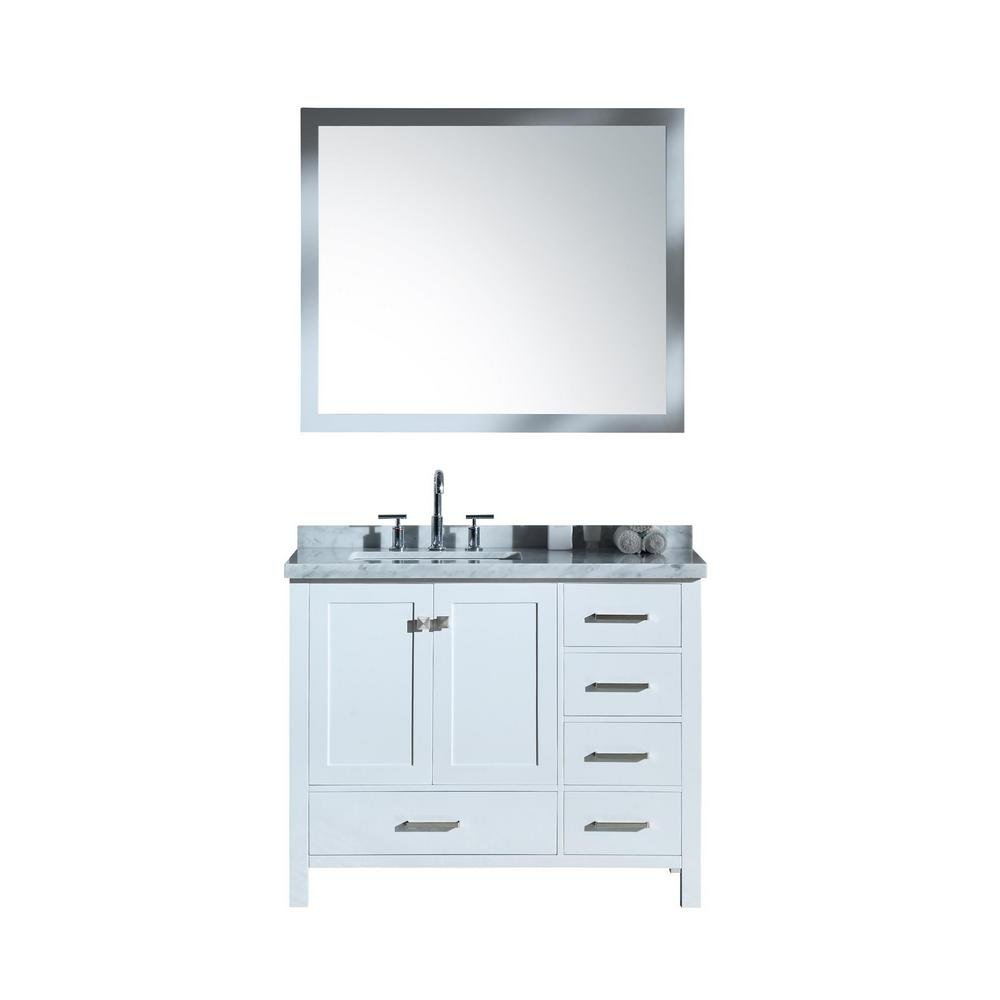 DKB Beckford Series 43 Inch Bathroom Vanity Set in White Single Left Offset Rectangle Sink Carrara White Marble Countertop 2 Soft Closing Doors 5 Full Extension Dovetail Drawers