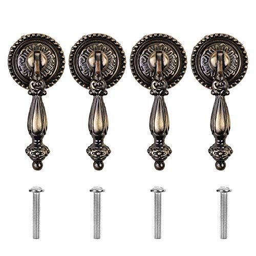 CM 4 Pieces Antique Style Bronze Metal Drawer Tear Drop Cabinet Decorative Pull Handle Knob