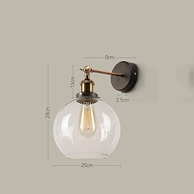 1411 Américain l Bar Mur Lampe Industrielle Vent Restaurant Créative personnalité Lampe de Chevet Chambre Simple Rétro Verre Applique Murale XQQQ