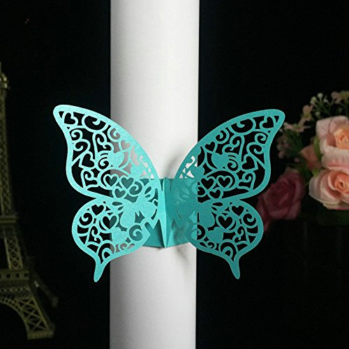 Sopeace Set of 50 Party Favors Wedding Napkin Holder Laser Cut Butterfly Napkin Ring Paper Napkin Ring For Wedding Decoration by (Blue)