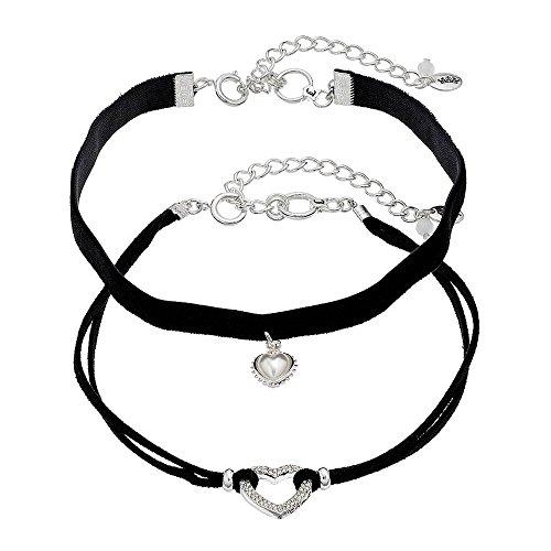 Juicy Couture Heart Black Faux Suede Choker Necklace Set