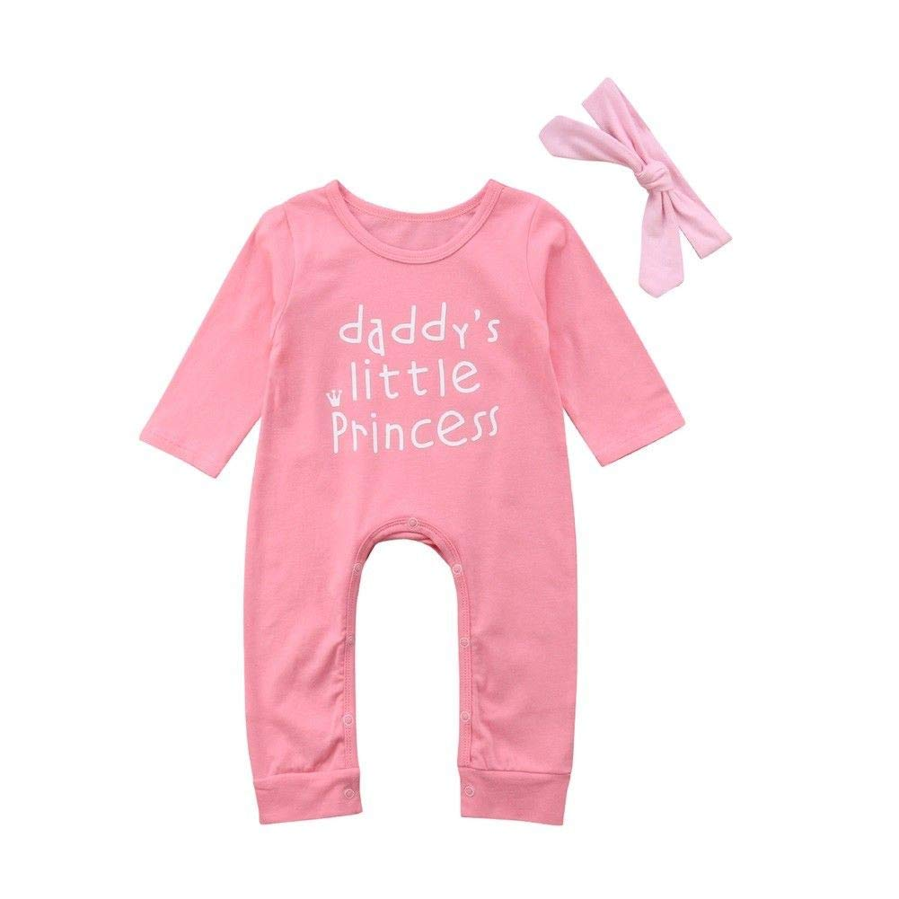 Headband Toddler Long Sleeve Letters Print Jumpsuit for 0-2 Years Old Kids Outfits Girls Daddys Little Princess Romper Janly Baby Clothes Set
