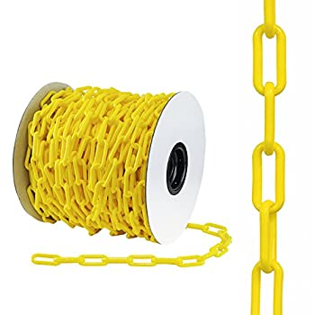 """Houseables Plastic Chain, Safety Barrier, 125 Foot, 2"""" Links, Light Weight, UV Protected, Accessory for Crowd Control, Queue Line, Halloween Costume, Decoration, Chains Link Fence (Yellow)"""